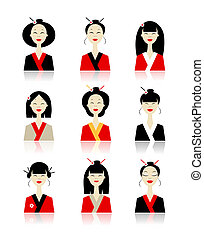 Set of asian woman icons for your design