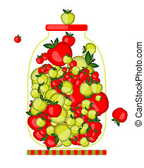 Bank with apple jam for your design