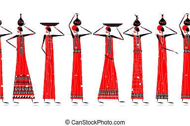 Ethnic women with jugs,background for your design