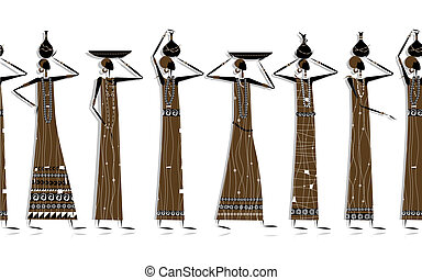 Ethnic women with jugs, background for your design