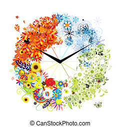 Design of clock Four seasons, concept