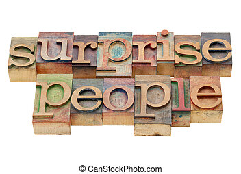 surprise people in wood type