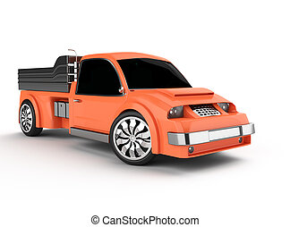 orange pickup truck isolated on white background 3d rendered...