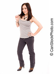 girl in a gray vest and black trousers on a white background