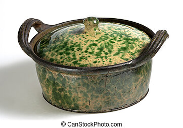 ceramic pot with lid glazed brown and green
