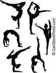 flickor, Gymnasts, silhouettes