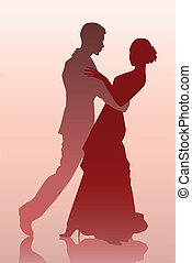 Couple dancing - Vector illustration of a young couple...