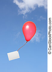 red balloon with greeting card in the sky - red balloon with...