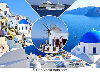 集合, 夏天, 相片, Santorini, 島, 希臘