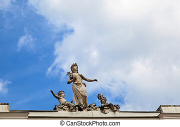 Statues on the Top of Palace in Porec, Croatia