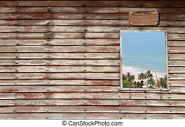 an wooden door with a window and cloudy sky