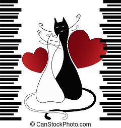 TWO ENAMOURED CATS WITH HEARTS AND BLACK STRIPS ON THE WHITE...