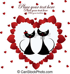 Enamoured black cats in heart on a white background