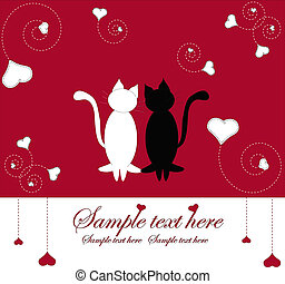 Enamoured cats with hearts - Two cats with hearts on a red...