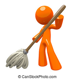 3d Orange Man Mopping - Orange Man with 3d Mop, mopping the...
