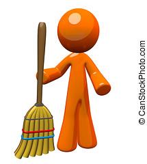 3D, naranja, hombre, tenencia, escoba, posición,...