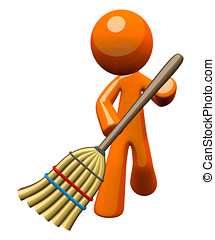 3d Orange Man Sweeping with Broom - An orange man with a...