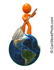 3d Orange ManMopping Globe Earth - 3d Orange Man mopping the...