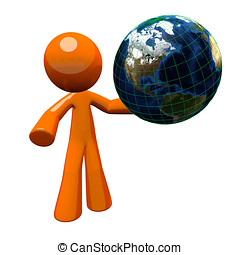 3d Orange Man Holding Globe - 3d orange man holding a globe,...