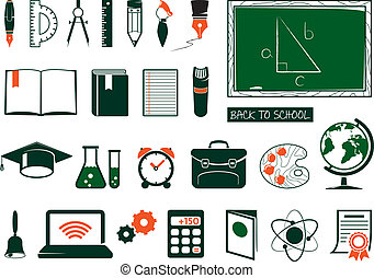 Set of school supplies - School ang college icons