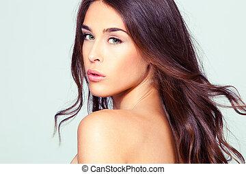 ritratto, donna, naturale, bellezza
