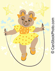 Bear girl in yellow dress