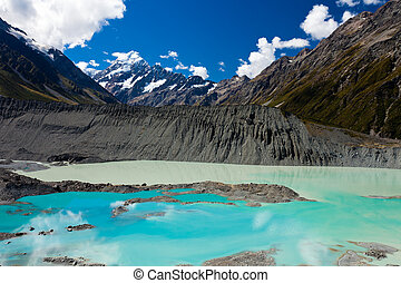 Emerald glacier lake in Aoraki Mt Cook NP - Glacial lake in...