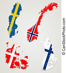 Nordic countries - Map and flags of four major nordic...
