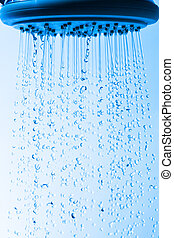 Shower Head with Droplet Water, Blue background