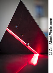 3D laser scanning beam - 3D laser scanner: the bright red...