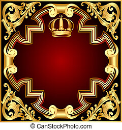 hintergrund, einladung, gold(en), krone, vignette, patte