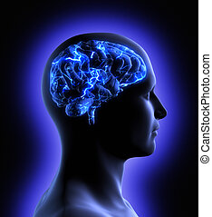Brain Activity - Conceptual image of a man from side profile...