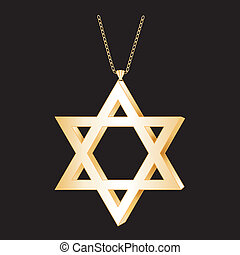 Gold Star of David, Chain Necklace - Gold Star of David with...