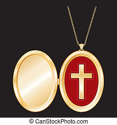 Christian Cross Gold Locket, Chain - Christian Cross in a...