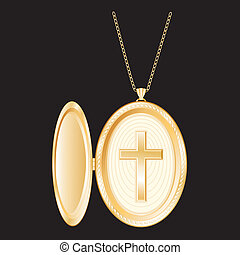 Christian Cross Gold Locket, Chain - Christian Cross in...