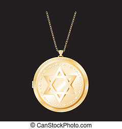 Star of David Gold Locket, Necklace - Star of David on gold...