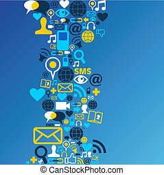 Social media network icon background - Blue social media...