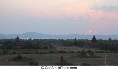 Sunset in Bagan timelapse
