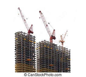Three Modern Highrise Constructions with Cranes