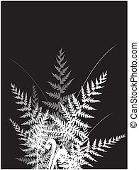 Grass vector silhouette with fern - vector illustration of...