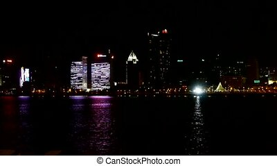 Seaside city at night,skyscrapers
