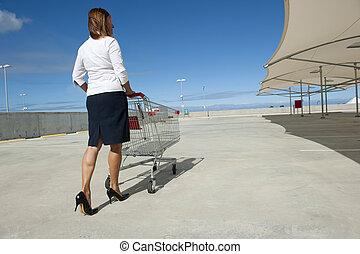 Sexy high heel woman shopping