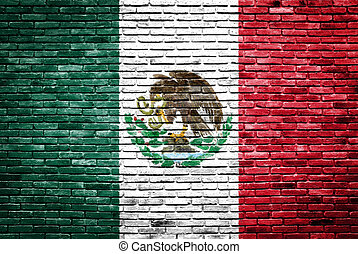 Mexico flag painted on old brick wall