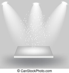 Empty white shelves on light grey background. Vector...