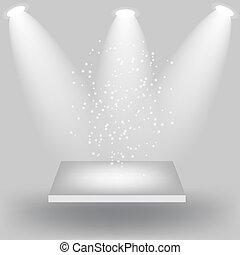 Empty white shelves on light grey background. Vector...
