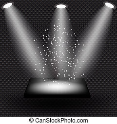 Empty black shelve on metal background with lights. Vector...