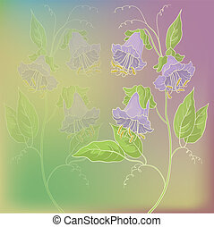 Flowers kobe on green and lilac background