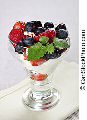 berrues with whipped sour cream - Glass with...