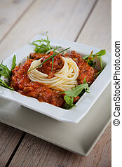 Pasta with sauce - Italian cuisine Delicious spaghetti pasta...