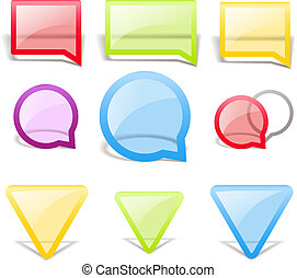 Set of glass style speech bubbles